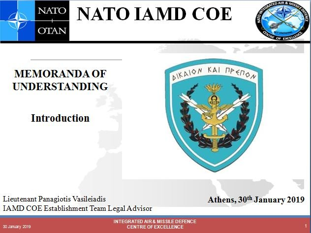 Introduction to NATO IAMD COE MOUs